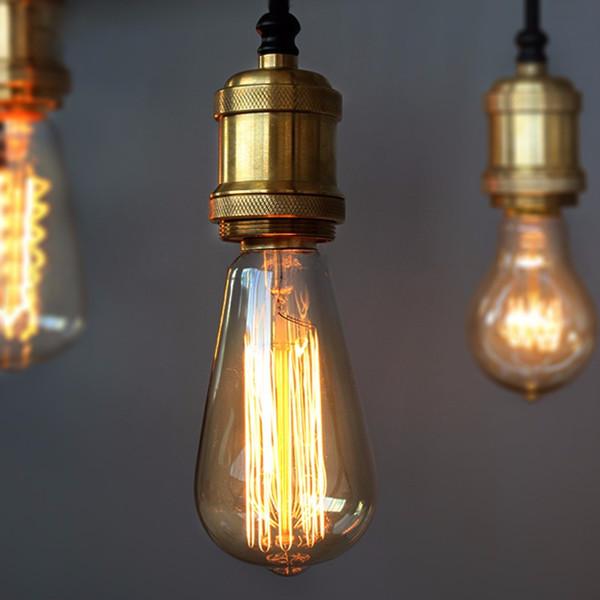 top popular Vintage Edison Light Bulb E27 Incandescent Lamp Bulb Tungsten 60W Filament Candle Hanging Light Warm White Lighting 110 220V 2021