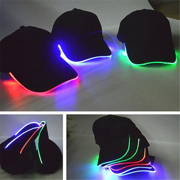 LED Cap Light Hat Glow Hat Cotton Black for Adult Baseball Caps Luminous for Men Stage Hiphop Cap Valentine's Day Gift DHL Free