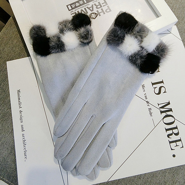 Wholesale- New Fashion Winter gloves Women Touch Screen wool gloves Elegant Lovely Hair Ball warm gloves Christmas gifts