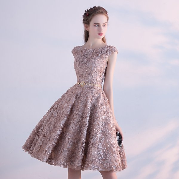 Real Image Champagne 3d Flower Homecoming Dresses 2017 Fashion Cut ...