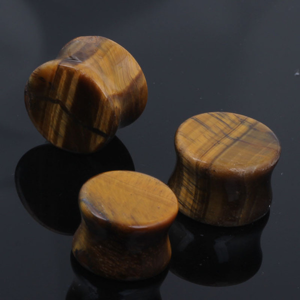 best selling Organic Natural Polished Tiger Eye Stone Ear Plug Saddle Double Flare Gauges Flesh Tunnel cool gages for ears