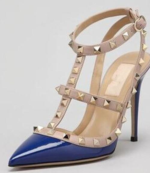 Designer Pointed Toe with Studs high heels genuine Leather rivets Sandals Women Studded Strappy Dress Shoes high heel Shoes women flat shoes