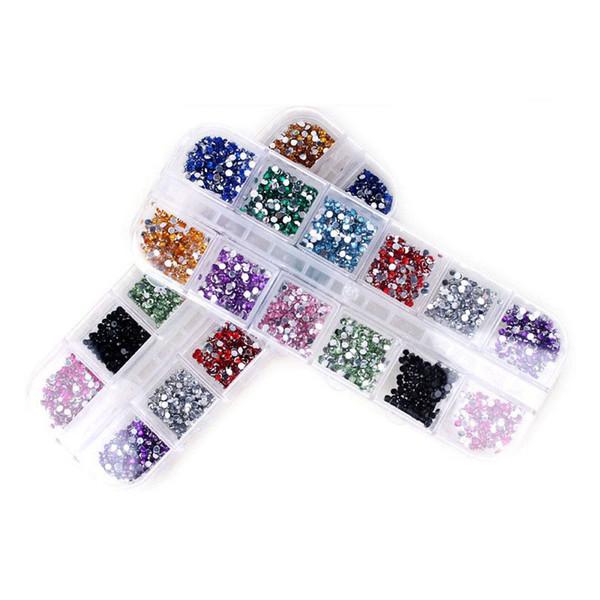 Wholesale-12 Color Mix Nail Art Strass 2mm Strass Dekoration runde Form Designs alle für Nägel Charms Schmuckzubehör Professional