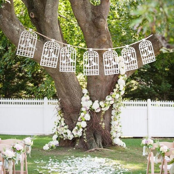 Lazer Cut Love Birds Design Vintage Wedding Bunting Banner Photo Booth Props Garland Bridal Shower Wedding Party Decoration