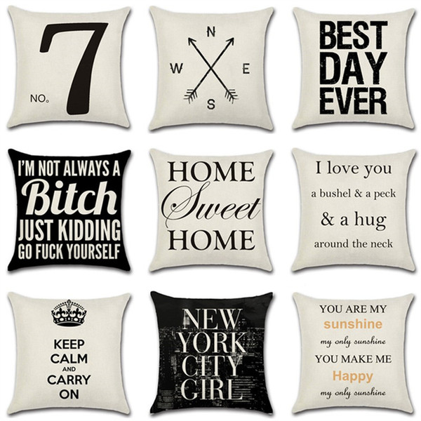 best selling 1PCS Comfortable Pillow Cases New English Letter Proverbs Home Cushions Gifts 45*45CM Square Linen Pillow Sets 14 Styles