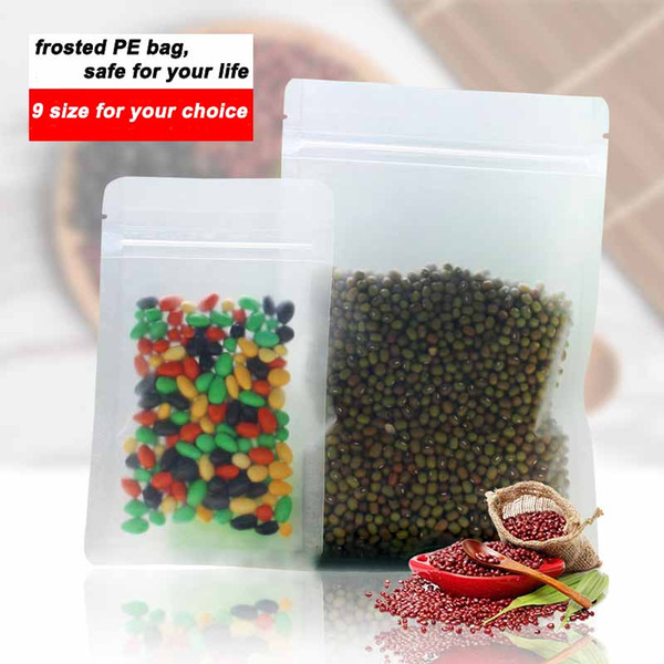 frosted plastic bag flat bottom Ziplock design Packaging Bag for nuts, tea, rice, corn, cookie etc 9 size in total, free shipipng 100pcs/lot