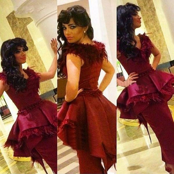 Burgundy Feather Sheath Prom Dresses 2017 V Neck Cap Sleeve Ruched Peplum Evening Gowns Arabic Satin Formal Party Dress Vestido De Festa
