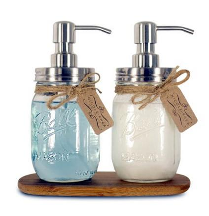 Bricolaje Bomba dispensadora de jabón de mano Acero inoxidable Mason Jar Dispensador de jabón / loción de encimera pulido / cromo / ORB / dorado HY-03