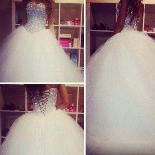 Luxuries Crystal Diamond Wedding Dresses Bodice Sheer Corset Sexy Puffy Tulle Ball Gown Brides Dress White Tulle Princess Wedding Gowns 2017