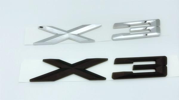 1pcs ABS Chrome / Nero X3 lettere numero tronco posteriore emblema adesivo decalcomania per BMW X3