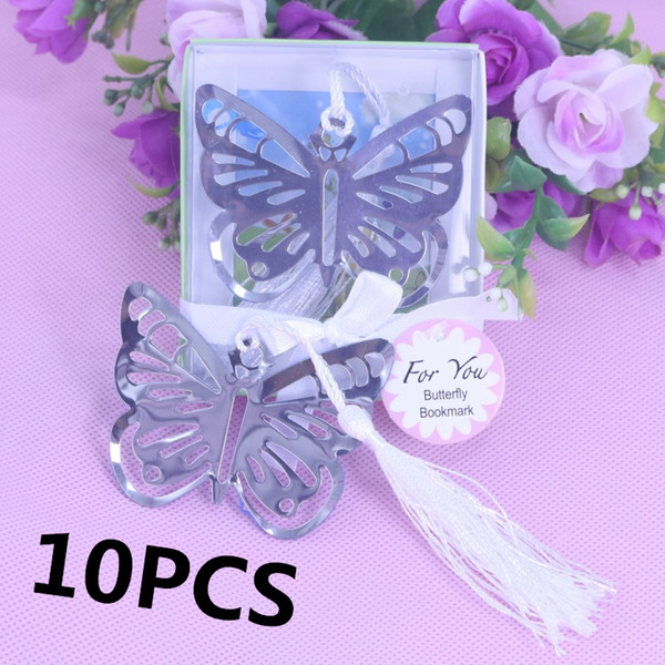 En gros-10 PCS Personnalisé Papillon Signet Faveurs Pour Baptême Fille Bébé Douche Graduation D'anniversaire De Mariage Faveur Et Cadeaux Pour Invité
