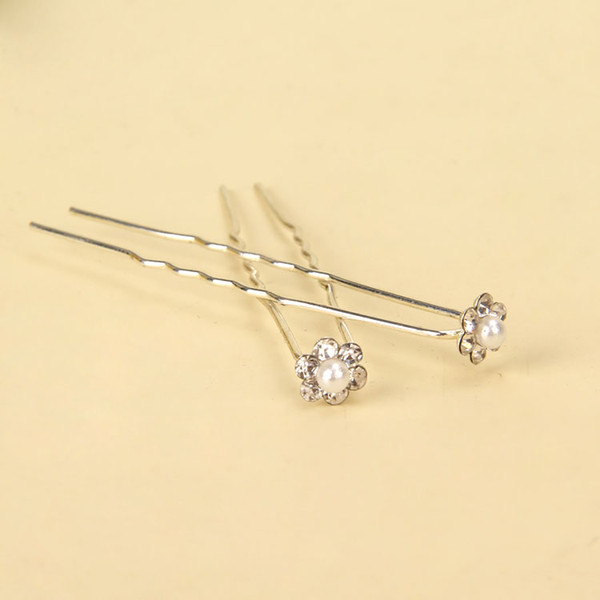 10Pcs Faux Pearl RHINESTONE U-shaped Hairpins Wedding Bridal Hair Prom Pins Flower Girl Pin Small Size Multi Color
