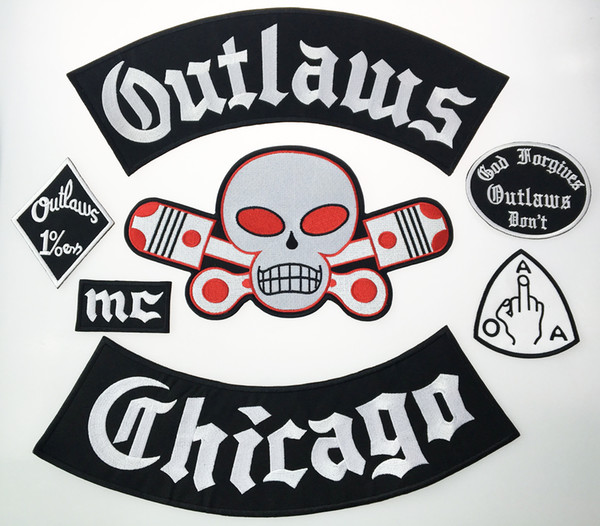 best selling Hot Sale! Outlaw Chicago Forgives Embroidered Iron On Patches Big Size for Full Back Jacket Rider Biker Patch Free Shipping