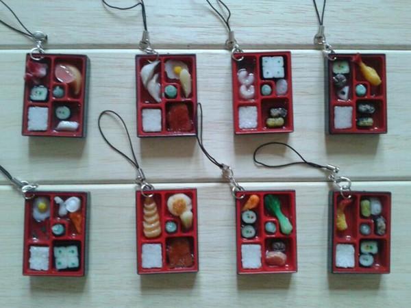 Freies Schiff 50 stücke Japanische Bento Food Lunchbox Charme Handy Straps Mode DIY Tasche Anhänger Chirstmas Geschenk