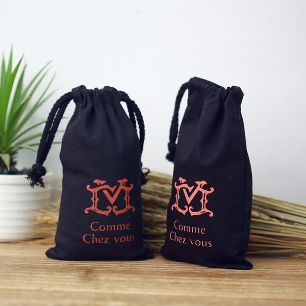 Wholesale- wholesale custom black cotton canvas drawstring advertising bags promotional bag printing logo available free shipping