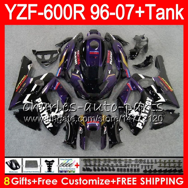 8Gift 23Color Para YAMAHA Thundercat YZF600R 96 97 98 99 00 01 53HM3 Roxo preto YZF 600R YZF-600R 1996 1997 1998 1999 2000 2001 kit de Carenagem