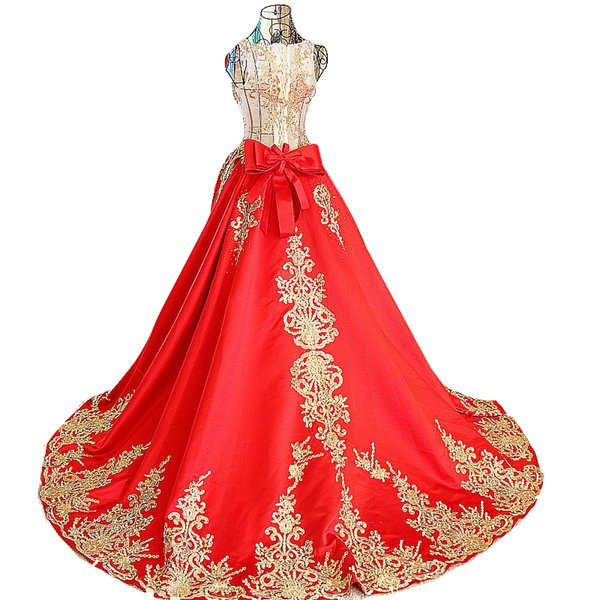 Colorful Red Luxury Embroidery Gold Wedding Dresses 2016 Ball Gown Lace up back With Applique Flowers Formal Internal Wedding dress 2017