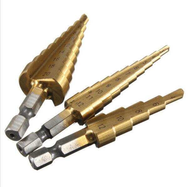 best selling 3pcs set HSS Titanium Coated Step Drill Bit for Metal 3-12mm 4-12mm 4-20mm High Speed Steel Wood Drilling Power Tools