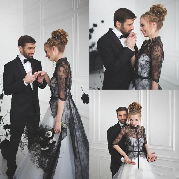 Modern Black And White Wedding Dresses With Half Sleeves 2017 Cheap Gothic Cheap Shirt Collar Lace Tulle Long Bridal Gowns Custom Made