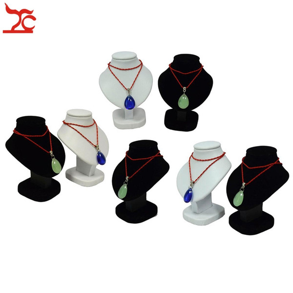 7Pcs Mini espositore per gioielli Busto bianco Ciondolo in poliuretano nero Velluto manichino collana rack stand ciondolo in legno modello 11cm