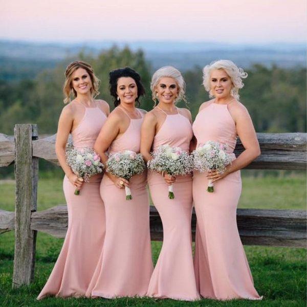 2018 Vestidos De Dama De Honra Rosa Sombra Halter Baratos Baratos Simples Longo Dama De Honra Vestidos De Festa Para Convidados Do Casamento
