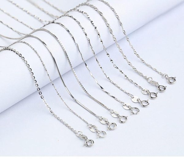 100% 925 Sterling Silver Smooth Snake Cross Rope Chain Seeds Box Twist Necklace Chains Cheap DIY Jewelry Component Size 16 '' - 18 ''