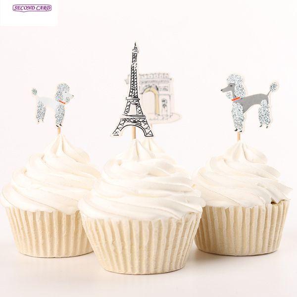 Atacado-New 24pcs Cupcake Toppers Adorável Cães E Torre Eiffel Em Paris Fontes Do Partido Do Chuveiro Do Bebê Favor Fontes Do Partido De Aniversário Dos Miúdos