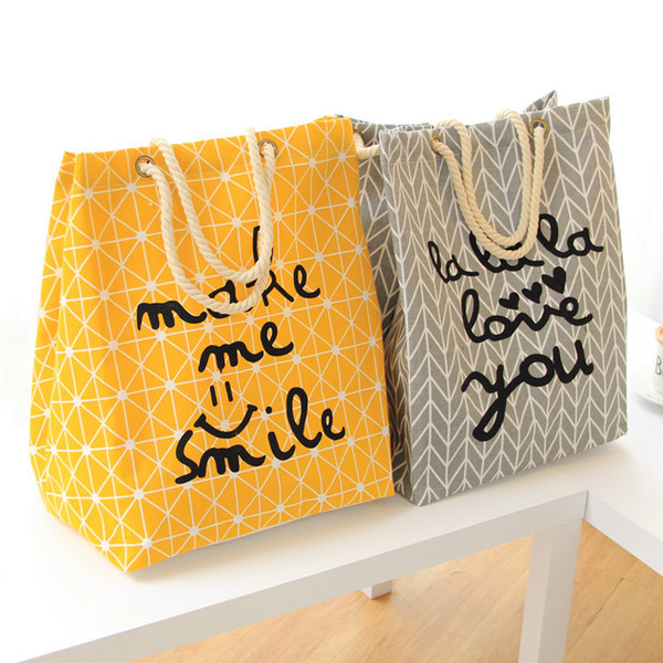 Women Creative drawstring stripe rope bag printed letter practical casual shopping bags Diamond Lattice Europe style Cotton and linen pocket