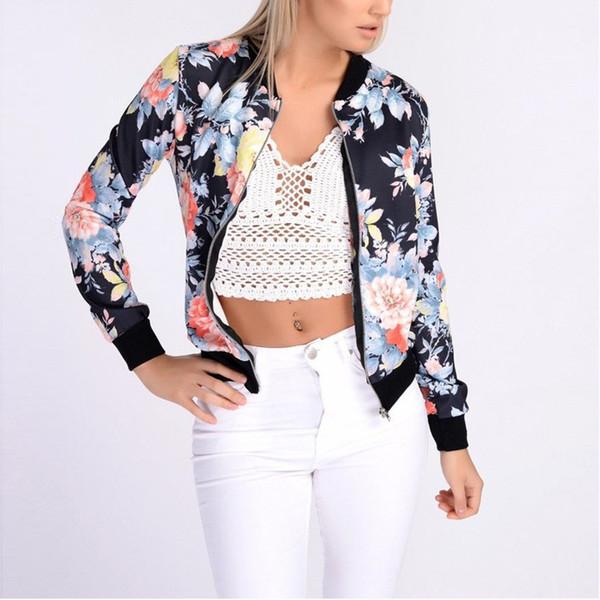 Automne Hiver Floral Mode Style Femmes Dames À Manches Longues Biker Manteau Court Veste Imprimé Zip Top Outwear Streetwear