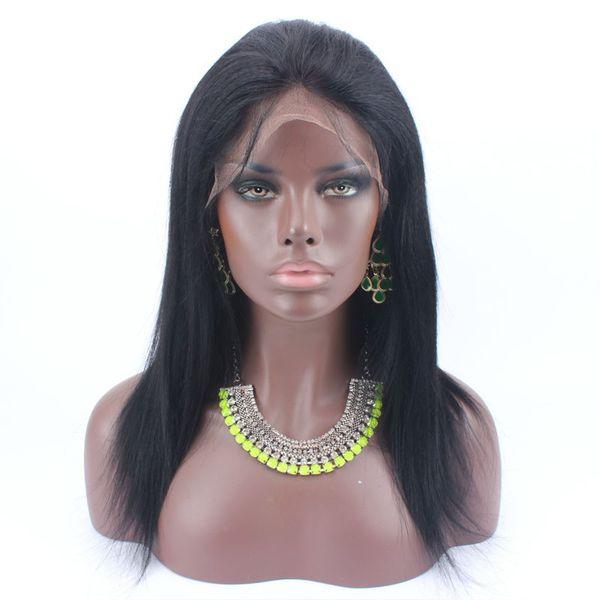 Malezya brezilyalı Hint Perulu saç Işık Yaki Dantel ön peruk insan saçı doğal siyah renk kahverengi renk yaki düz stokta