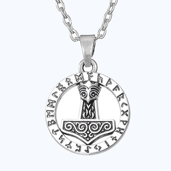 Gothic Thors Hammer Mjolnir Nordischen Symbolischen Gott des Donners Viking Thor Plus Halskette Retro Rune Anhänger Männer Schmuck Freeshipping