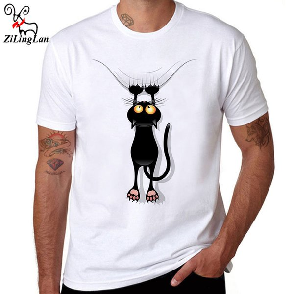 ZiLingLan Hipster Fun Black Cat Falling Down T Shirts Breathable Cotton T-shirt Novelty Short Sleeve Men's Tops Tees US/EUR Size
