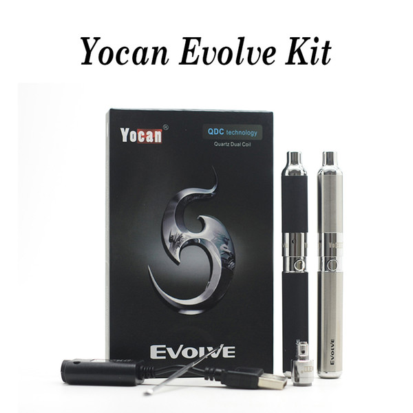 Authentic 1 pc Yocan Evolve Kit 650mAh QDC Wax Vaporizer E Cigarette Quartz Dual Coil Atomizer EGO Thread Starter Kits Vape Pen