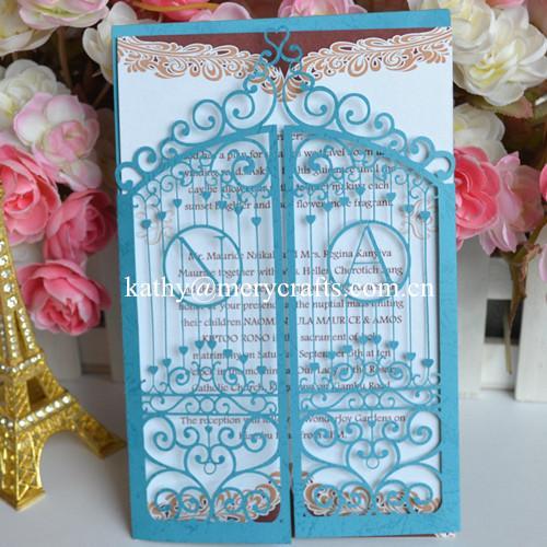 Toptan-lüks kapısı lazer kesim düğün davetiye / baş harfleri ile düğün kartları kesim die