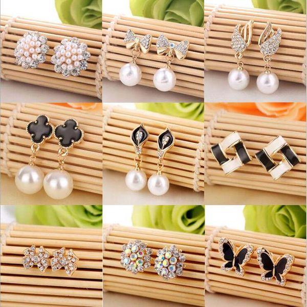 15 years Factory Supply Fashion New 58 Styles Diamond Earrings Pearl Earrings Buckle Jewelry For Women Wedding Earrings Stud Mixed style Pai
