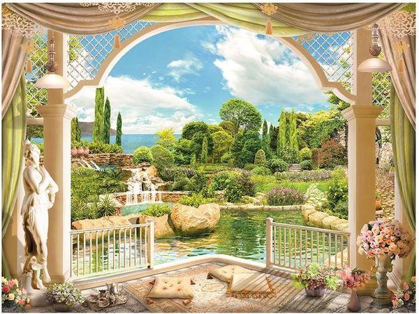 Papel tapiz fotográfico 3D al por mayor-Personalizado murales de pared papel tapiz Jardín europeo paisaje Columna romana 3 d TV ajuste pared papel decoración para el hogar