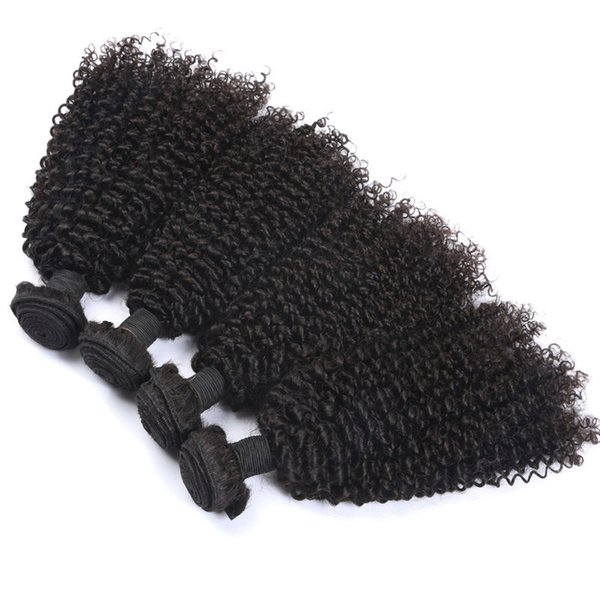 Virgin Indian Kinky Curly Hair Weave Bundles Unprocessed Human Hair Weaves 4Pcs Natural Color Double Weft Brazilian Peruvian Hair Extension