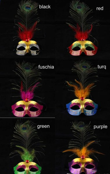 Luxury peacock feather mask Halloween party mask carnival Venetian Masquerade Mask fancy dress opera prom prop mix color free shipping