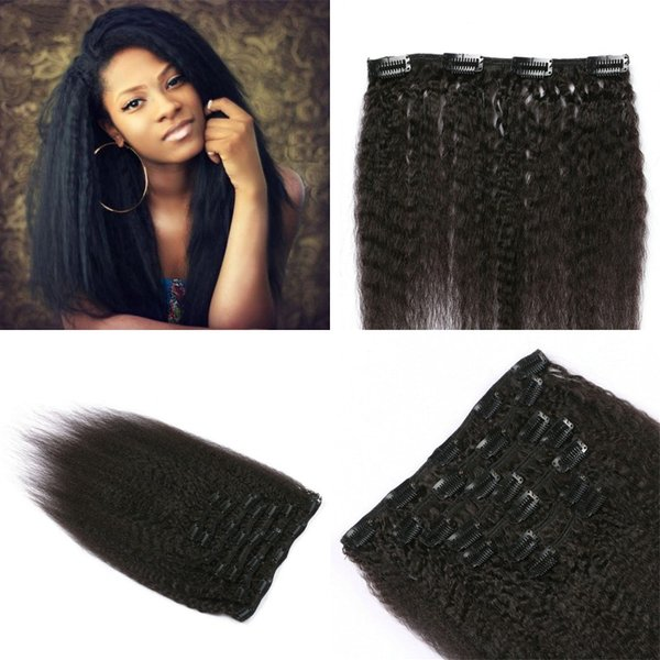 Filipino Human Hair Clip In 7pcs/set Kinky Straight Clip In Hair Extensions Virgin Hair FDSHINE