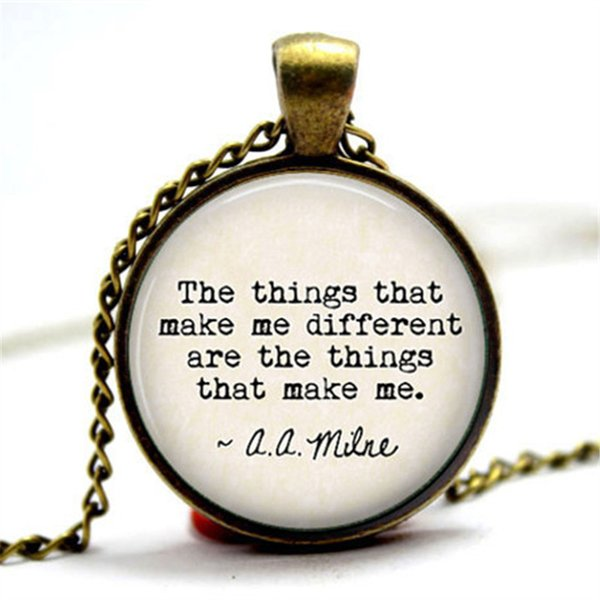 "10pcs/lot the Pooh Quote ""The things that make me different are the things that make me"" Glass Photo Cabochon Necklace"