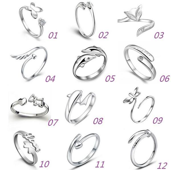 Anelli Jewerly dell'argento sterlina 925 Delfini Dragonfly Ali dell'anello regolabile di apertura della farfalla di amore di angelo di angelo per le donne che spedice liberamente
