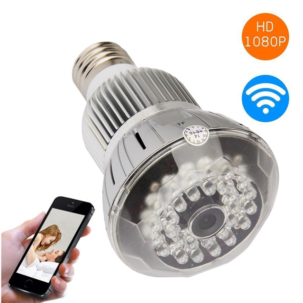 1080P 12MP HD WiFi LED Lampada Bulb Camera Motion Activated IP P2P Videoregistratore Cam Security Mini Videocamera a infrarossi Lampada per la visione notturna