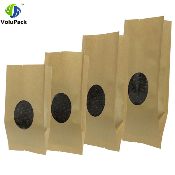 Various Sizes 100pcs Side Gusset Tear Notches Brown Kraft Paper Gift Bag For Tea Powder Nut Food Cookie Open Top Package Bags