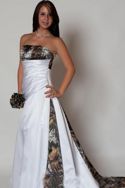 Discount 2019 Modest Camo A Line Wedding Dresses Strapless Pleats Zip Lace Up Back Sweep Train Bridal Gowns Satin Elegant Vestido Wedding Dresses