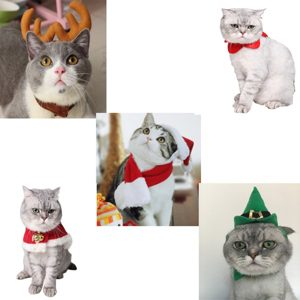 Pet Christmas Hat + Scarf for Cats & Small Dogs Holiday Accessory 5 styles/set/, New Year Dressing up Party Fancy Dress Clothes Costume