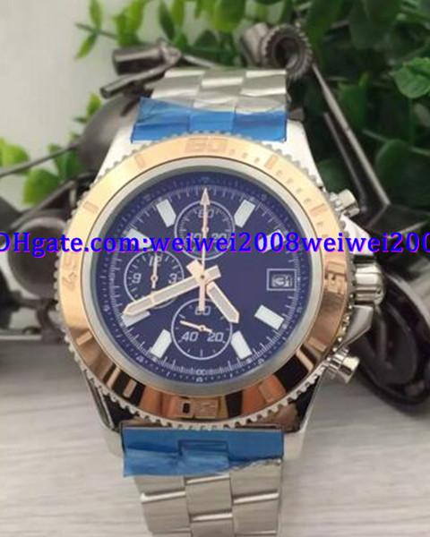 Lüks İzle saatler erkekler superocean ii miras 46 paslanmaz çelik İzle kuvars chronograph İzle mens saatı