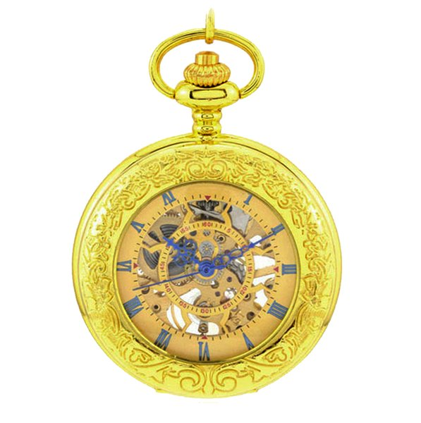 Gold Plated Skeleton Pocket Watches Magnifier Glass Function Mens Analog Mechanical Hand Winding Pocket Watch with Chain