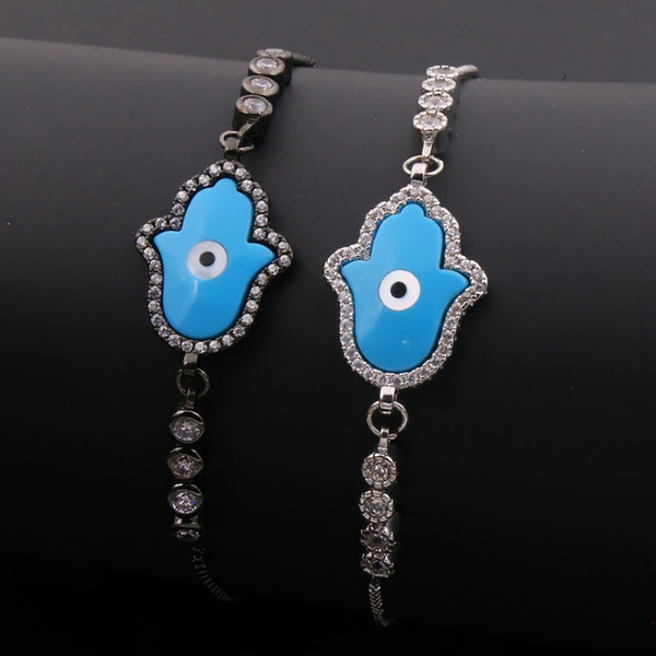 hot sale free shipping Wholesale and retail copper box chain round model silver or black color palm and eye blue color