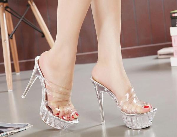 Plus Size 35-43 14cm High Heels Crystal Women Sandals Hollow Out Platform Crystal Heels Women Fashion Slippers