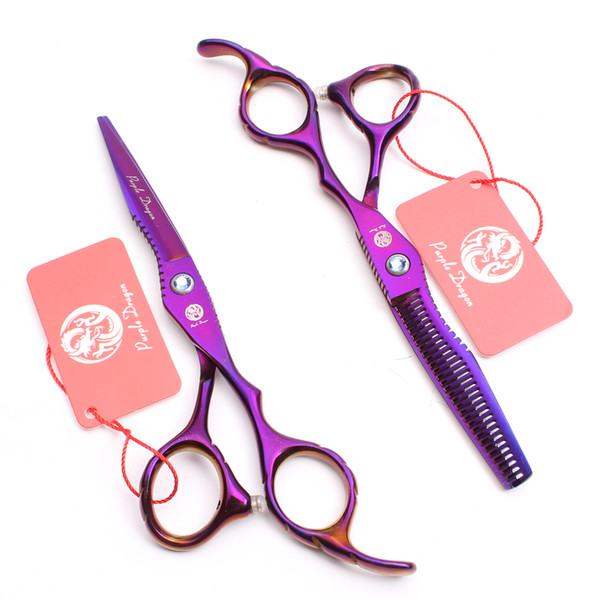 "Z1011 6"" Japan 440C Purple Dragon Purple Professional Human Hair Scissors Barbers' Hairdressing Scissors Cutting Thinning Shears Style Tools"